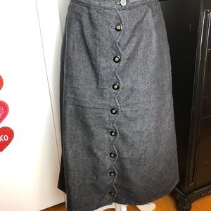 Front Button Jean Skirt